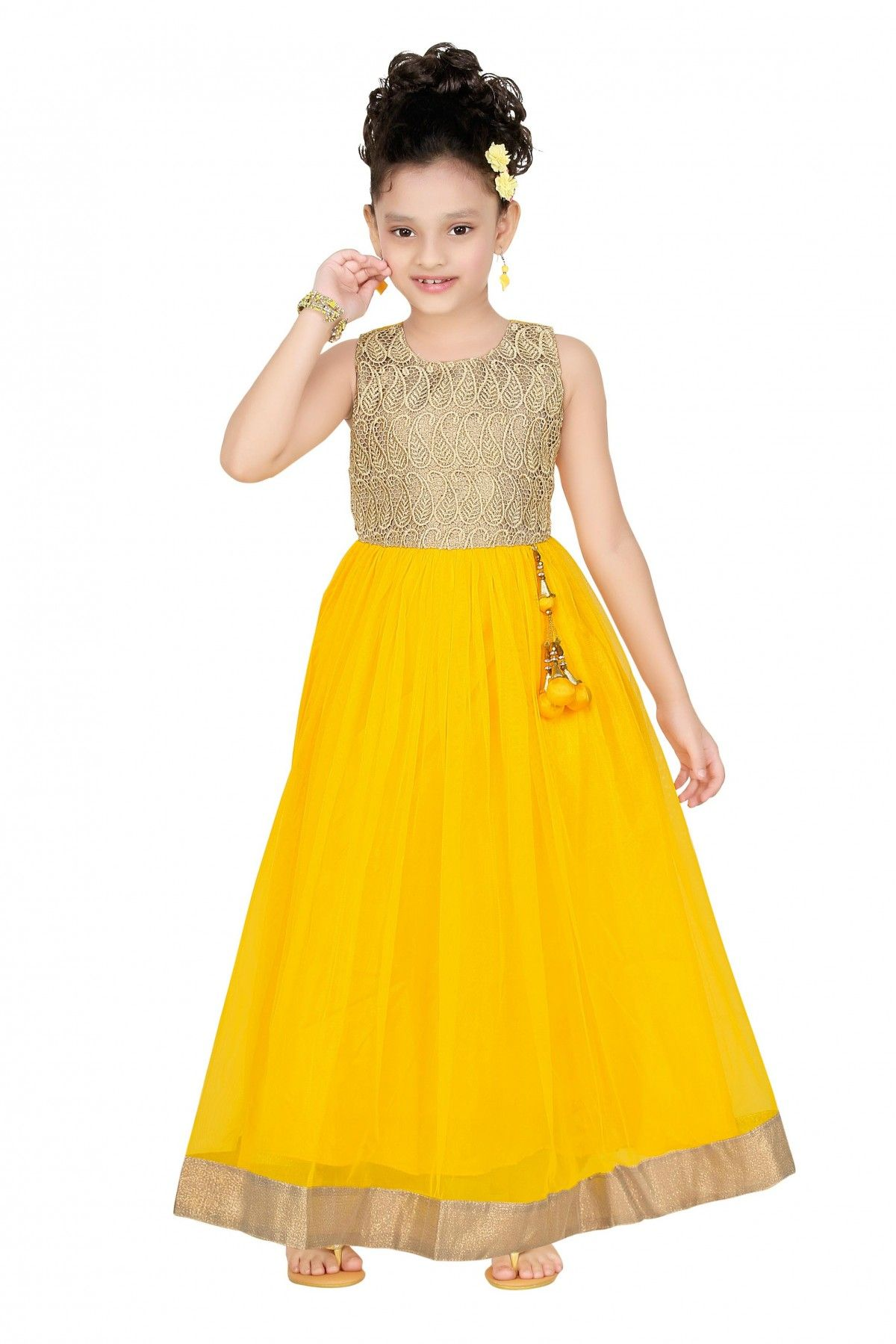 0b65efba01ef8 Net Party Wear Gown in Yellow Colour | Kids Collection | Party wear ...