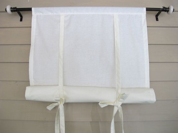 Ivory Cotton 60 Inch Long Window Shade Roll Up Swedish Blind