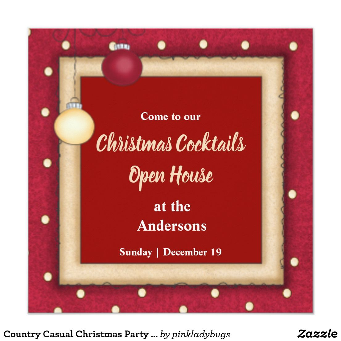 Country Casual Christmas Party Invitation
