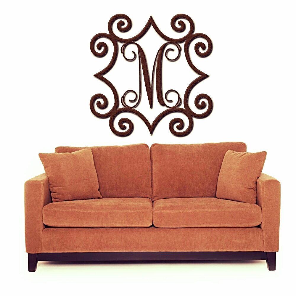 Outdoor Metal Wall Art Monogram Wrought Iron Inspired Wall Art With Monogram Initial  Indoor Or