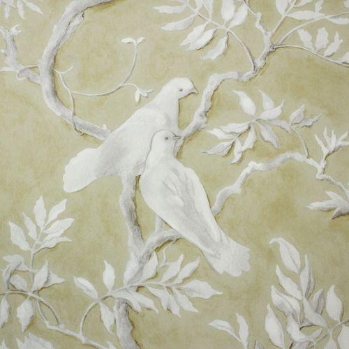 Doves Wide Width Wallpaper Pale Blue Lewis & Wood in
