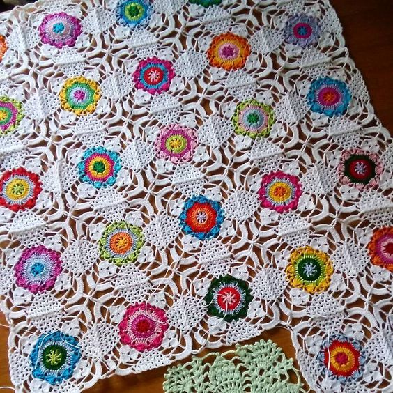 ergahandmade: Crochet Tablecloth + Diagram | sobrecamas en crochet ...