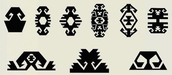 Hands on Hips - 以下に並べられたモチーフの最終形は、カンキリ、アデナ、カイセリ、アンタルヤ、ニーデのキリムにみることができます。