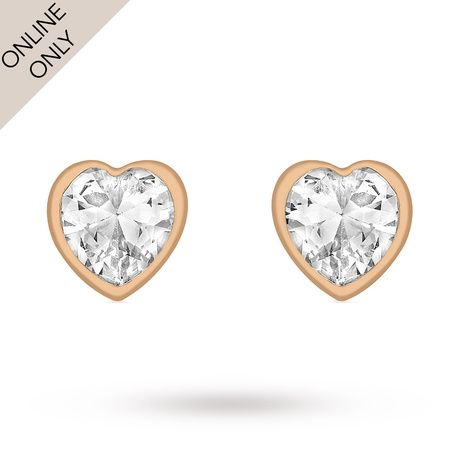 For Her 9ct Rose Gold Cubic Zirconia Stud Earrings