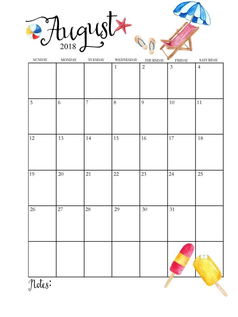 photo about Printable Monthly Calendar August referred to as 2018 Printable Month to month August Calendar organisation