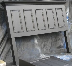 4 Panel Door Converted Into A Queen Size Headboard Painted Satin Black Contact Us At Headboard From Old Door How To Make Headboard Diy King Size Headboard