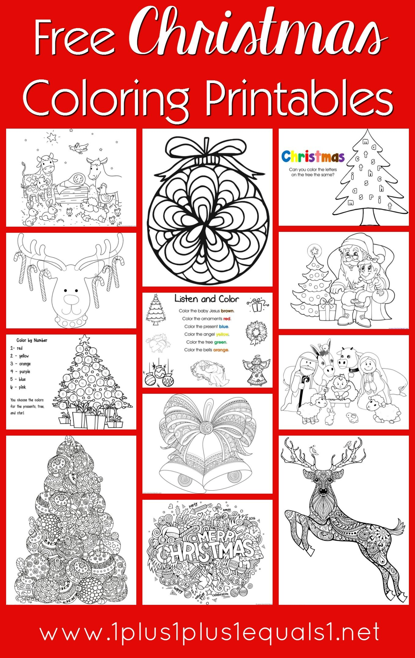 Free Christmas Coloring Pages for Kids & Adults | Pinterest
