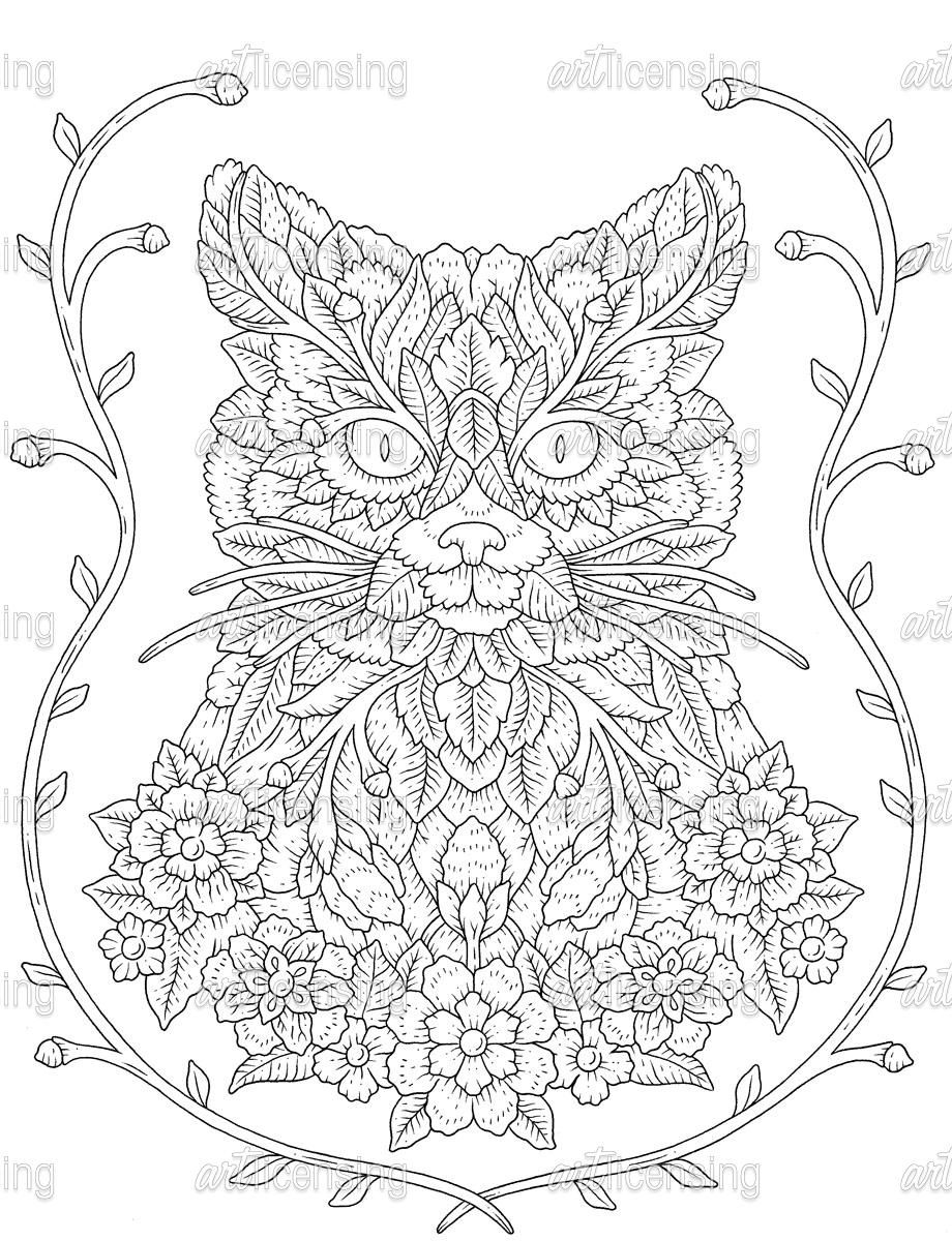 Cat coloring page free adult coloring pages pattern coloring pages animal coloring pages