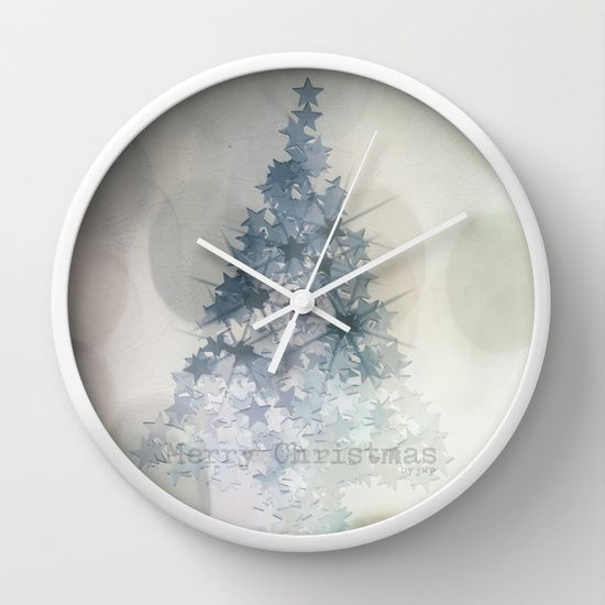 Chistmas Tree Stars & Bubbles • Wall Clock white • ARTbyJWP on society6