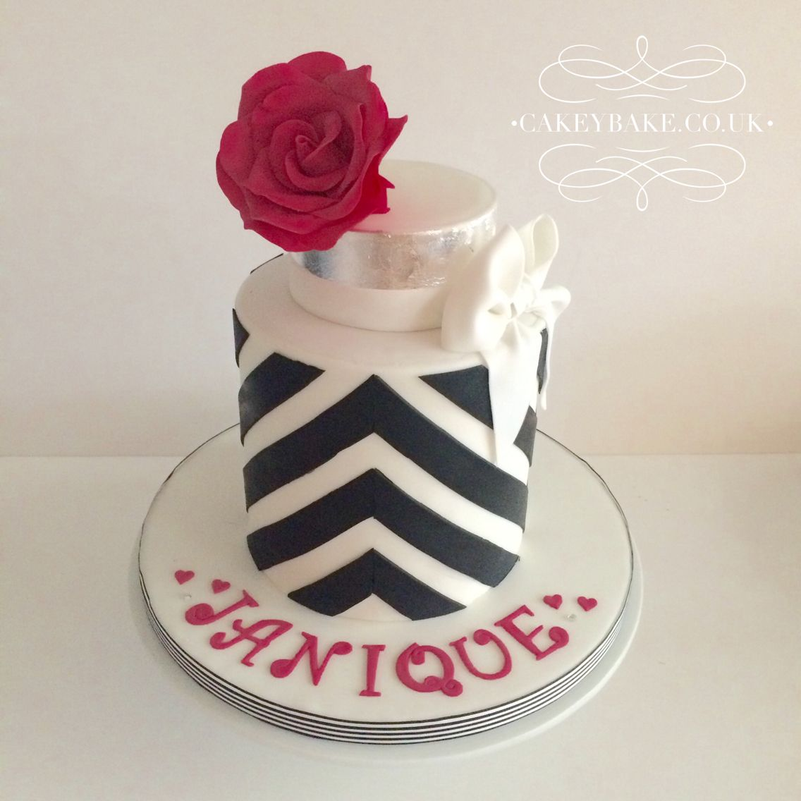 Black and White Chevron Birthday Cake By Kirsty Low wwwcakeybake