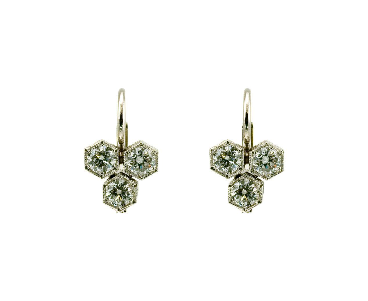 Cathy Waterman Triple Hexagonal Earrings In Dangles At Twistonline
