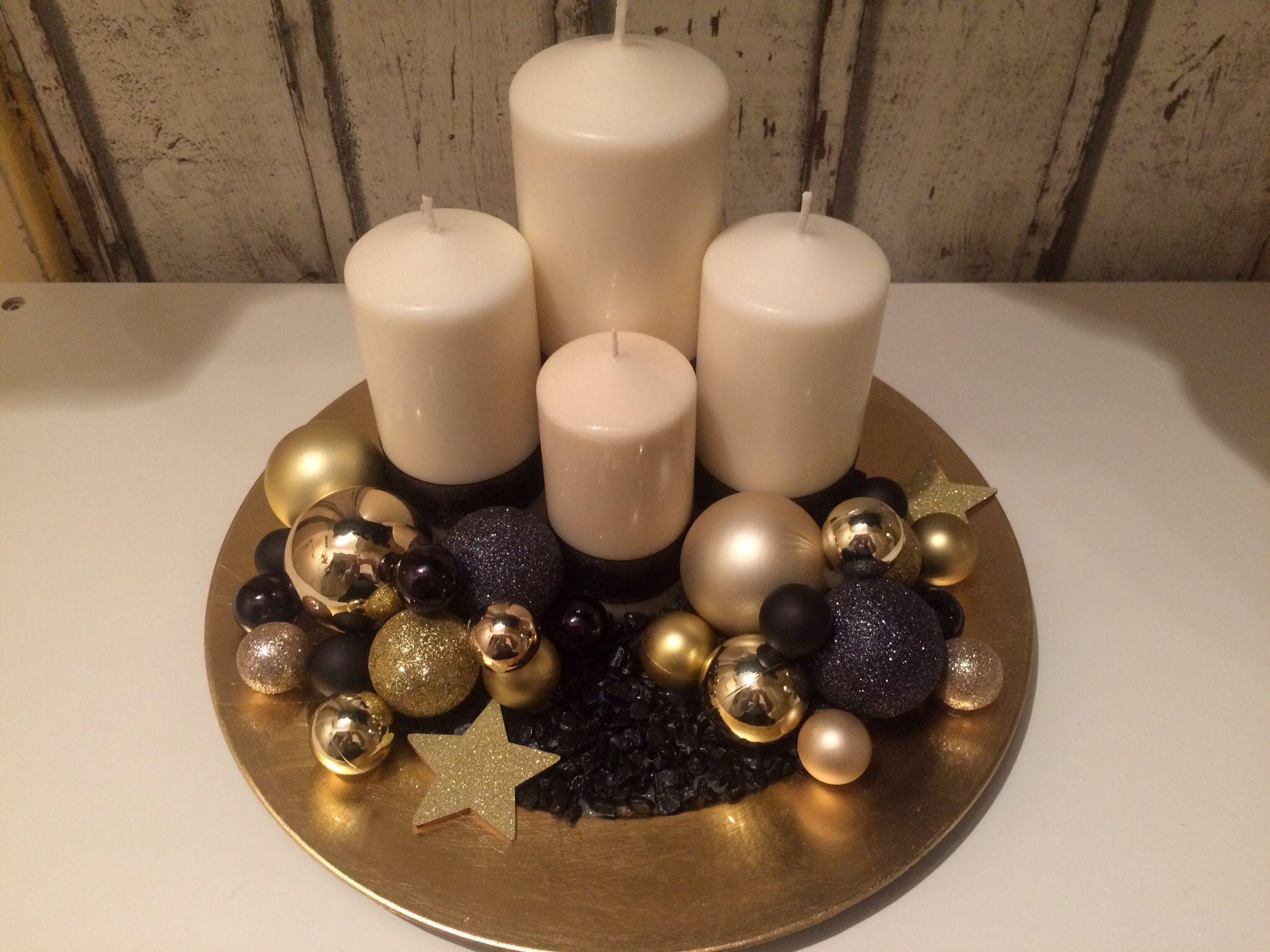 Adventsgesteck gold  Weihnachtsdekoration Deko Advent Winter