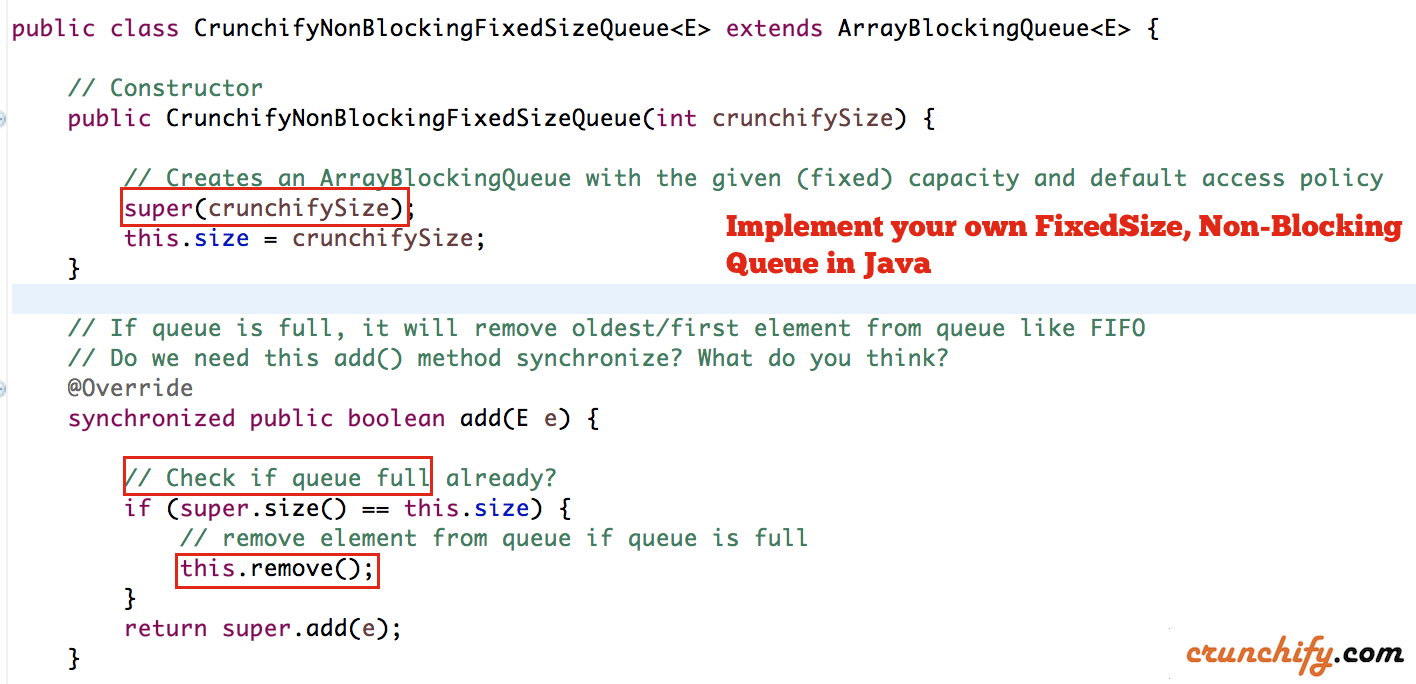 How To Create Your Own Non Blocking Fixed Size Queue In Java