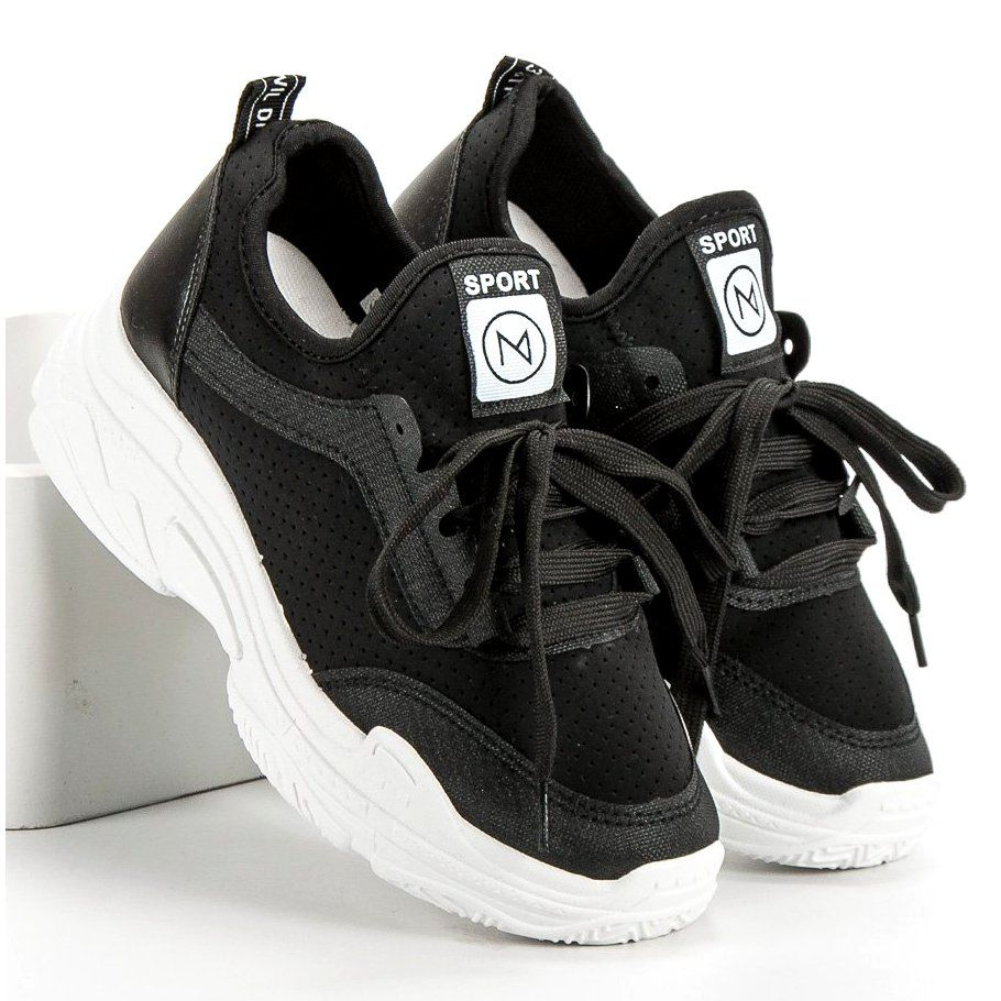 Mckeylor Buty Sportowe Czarne Black Shoes Plastic Heels Soft Heels