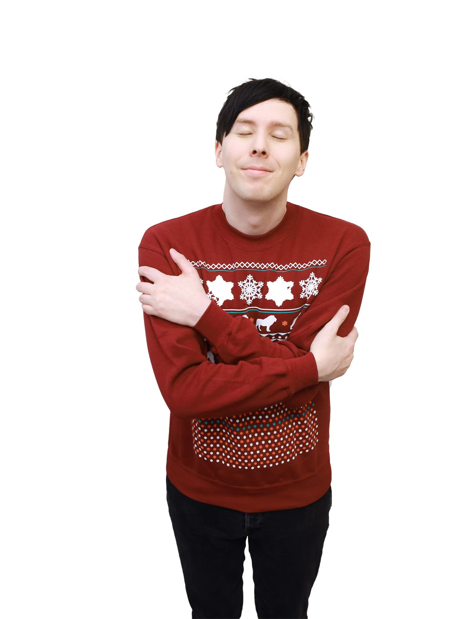 Dan And Phil Christmas Sweater.Official Dan And Phil Maroon Christmas Jumper Embrace The