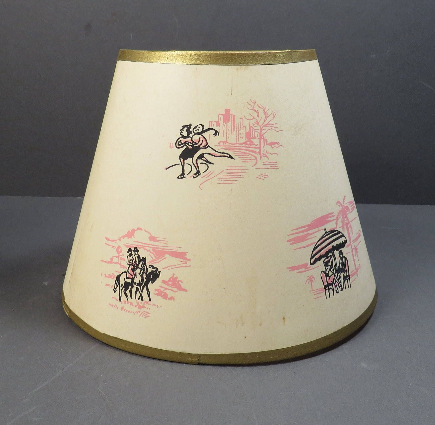 Romantic Interludes Paper Clip-on Lamp Shade Vintage 1940s 1950s ...