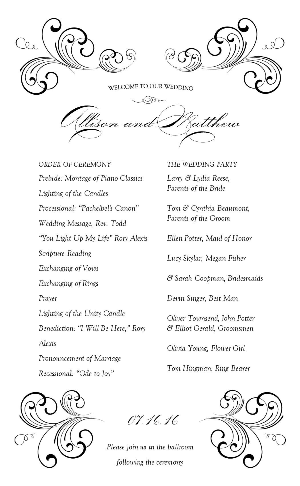 Sample Wedding Programme At The Reception Weddinginvitationsbiz