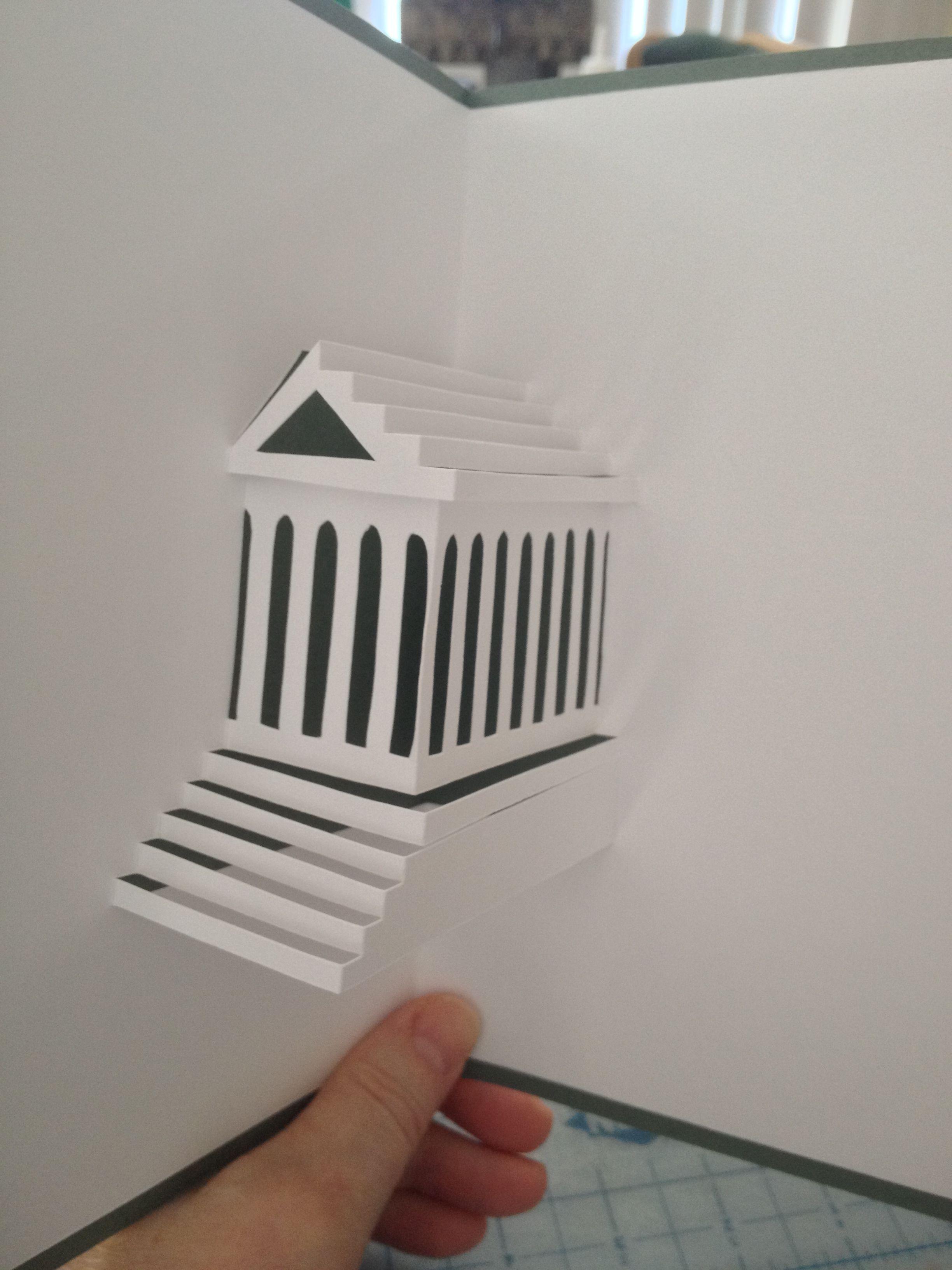 Parthenon Pop Up Card Pop Up Card Templates Diy Pop Up Cards Templates Paper Pop