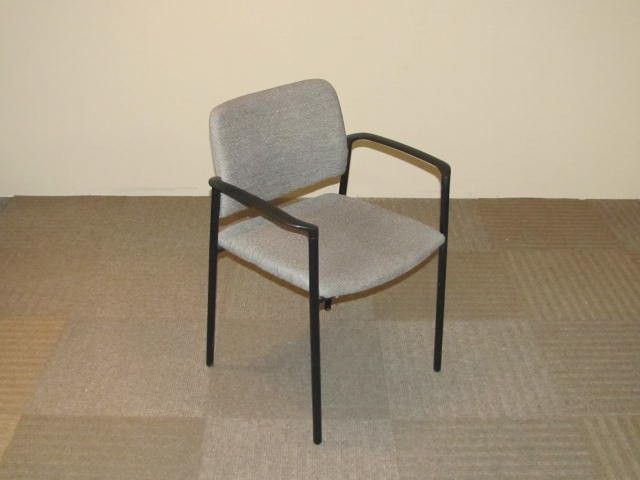 Kimball Event Stackable Chair With Gray/Taupe Fabric And Black Plastic Arms