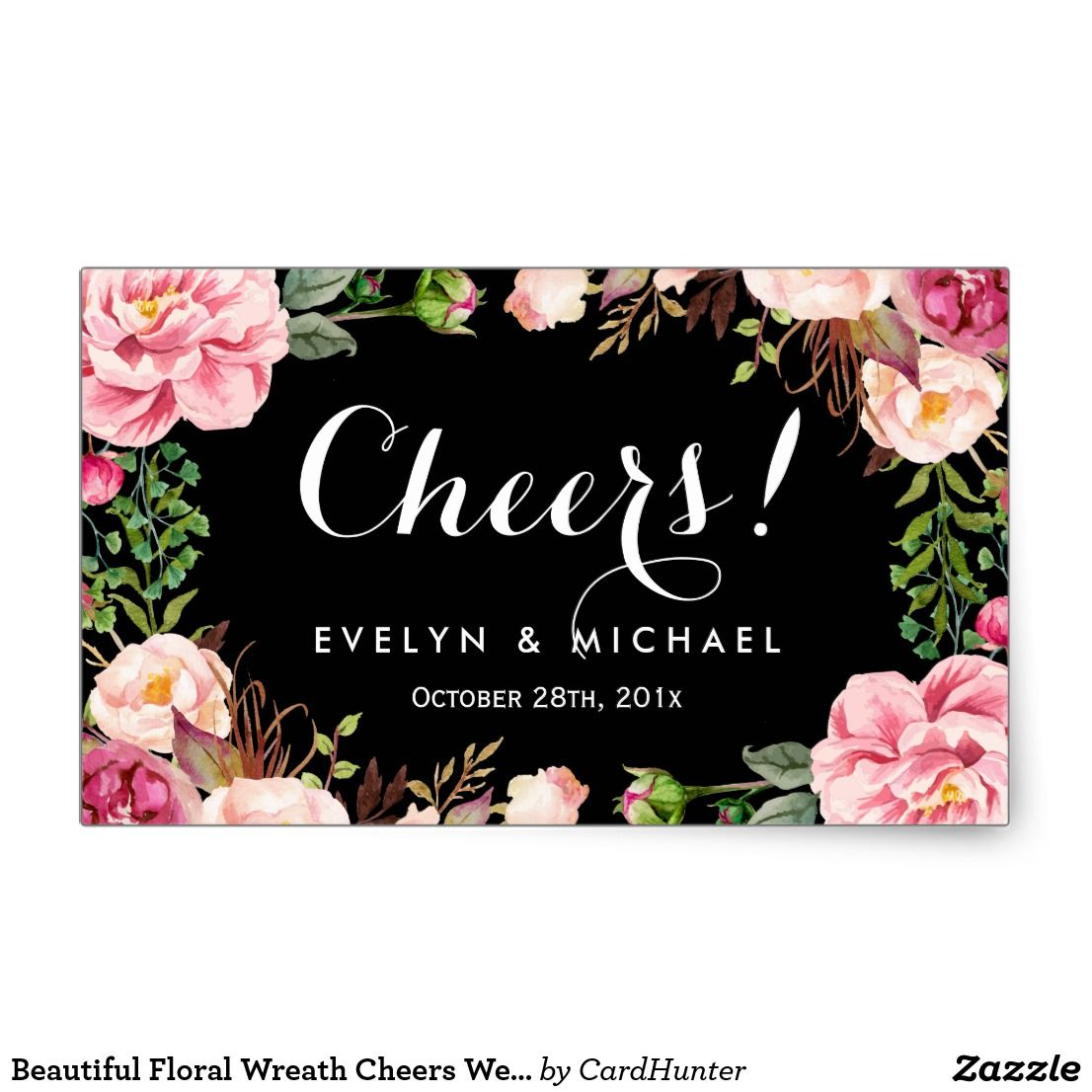 Personalize Beautiful Floral Wreath Cheers Wedding Wine Label Per