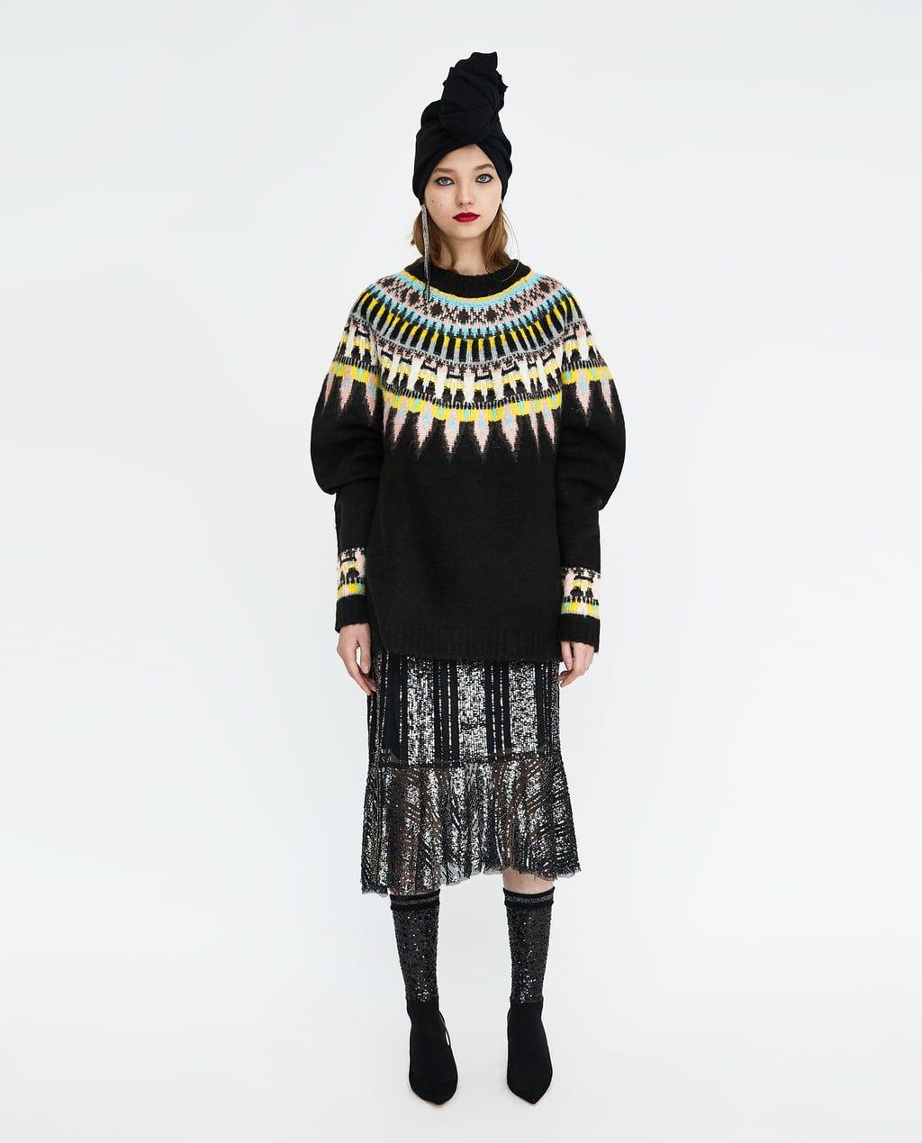a1d1a4af74d OVERSIZED JACQUARD SWEATER-DRESS TIME-WOMAN