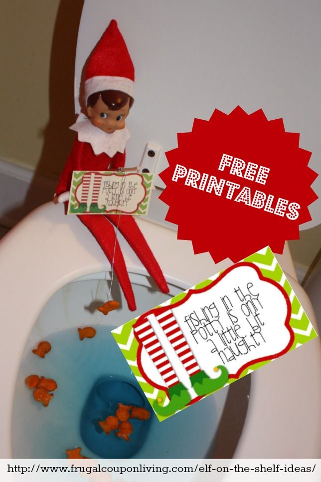 free elf on the shelf printable notes elf goes toilet fishing free elfontheshelf elfontheshelfideas
