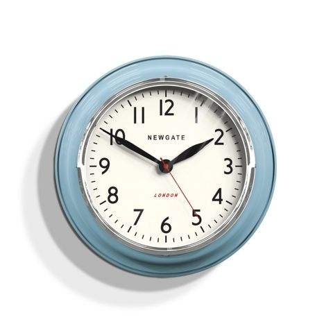 The Cookhouse wall clock in Kettle Blue by Newgate Clocks. This vintage inspired kitchen wall clock is perfect for adding a retro touch to the wall. Iconic British design   www.newgateclocks.com  #homeware #decor #interior #homeaccesory