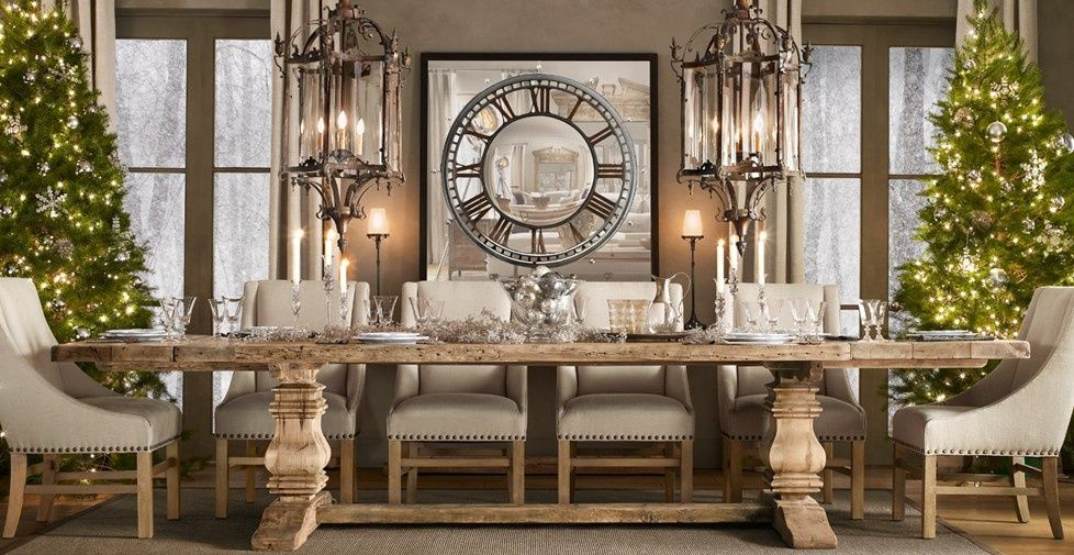 Contemporary Dining Room With Restoration Hardware Salvaged Wood Trestle  Rectangular Extension Dining Table, Chandelier Part 35