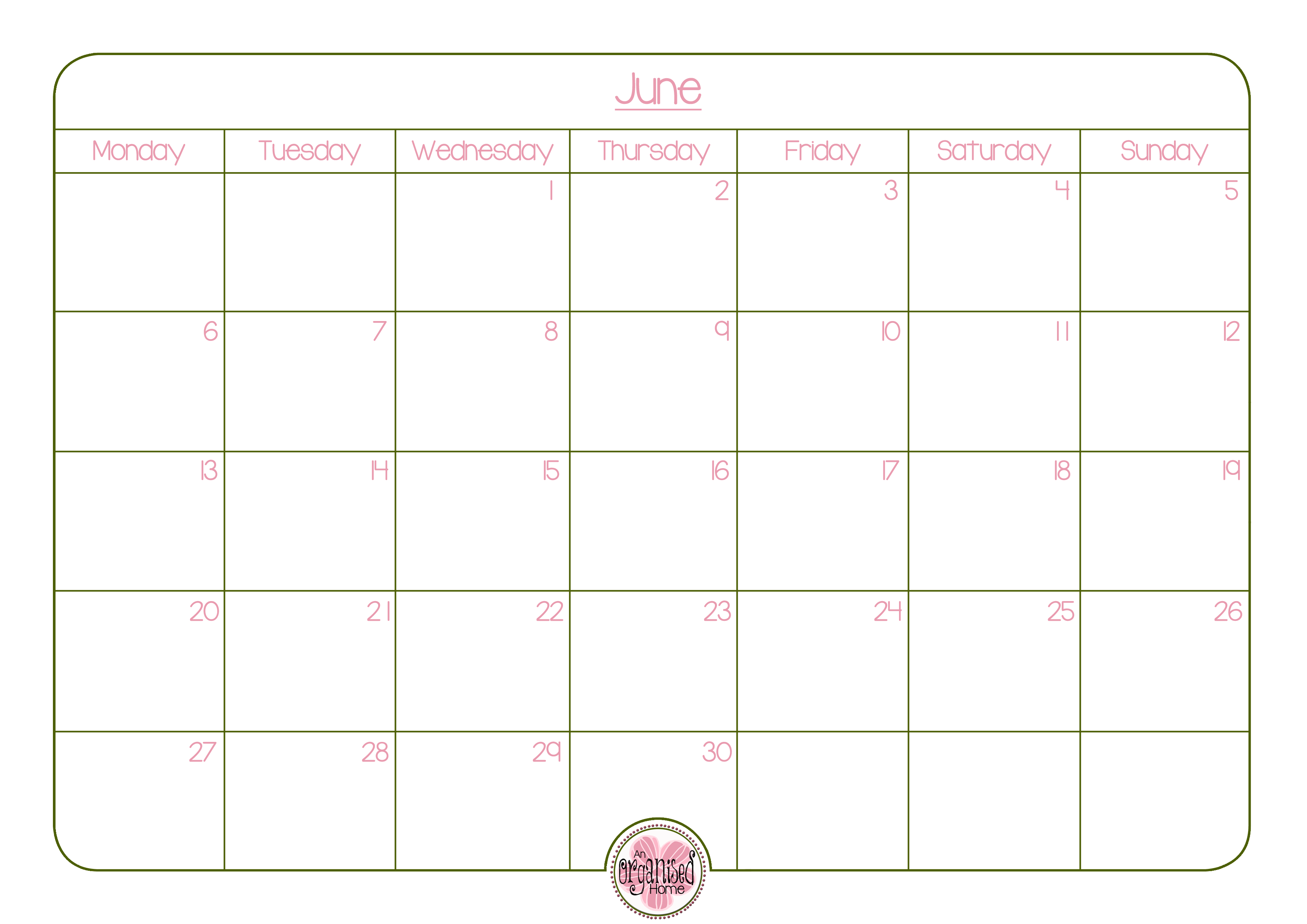june 2016 calendar an organised home who doesn t love a little