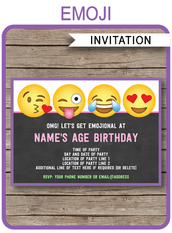 Emoji Party Invitations Template Girls In 2018 Rodas Is Turning