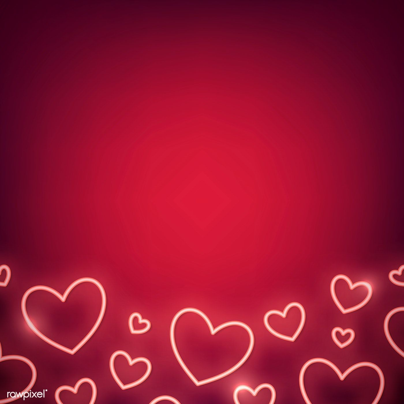 Neon light heart on red background