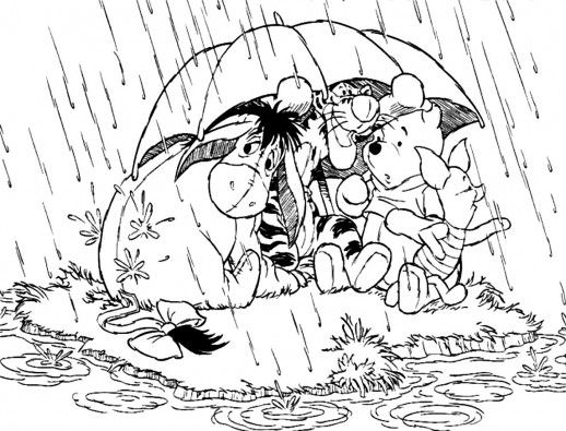 Winnie The Pooh And His Friends Are Under Umbrella