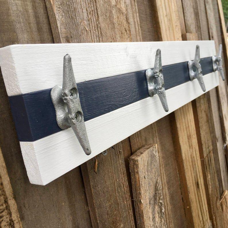 Boat Cleat Coat Rack Nautical Towel Rack Hat Rack Book Bag Rack Key Rack Navy Blue And White In 2020 Boat Cleats Boat Cleat Towel Rack Boat Cleat Decor