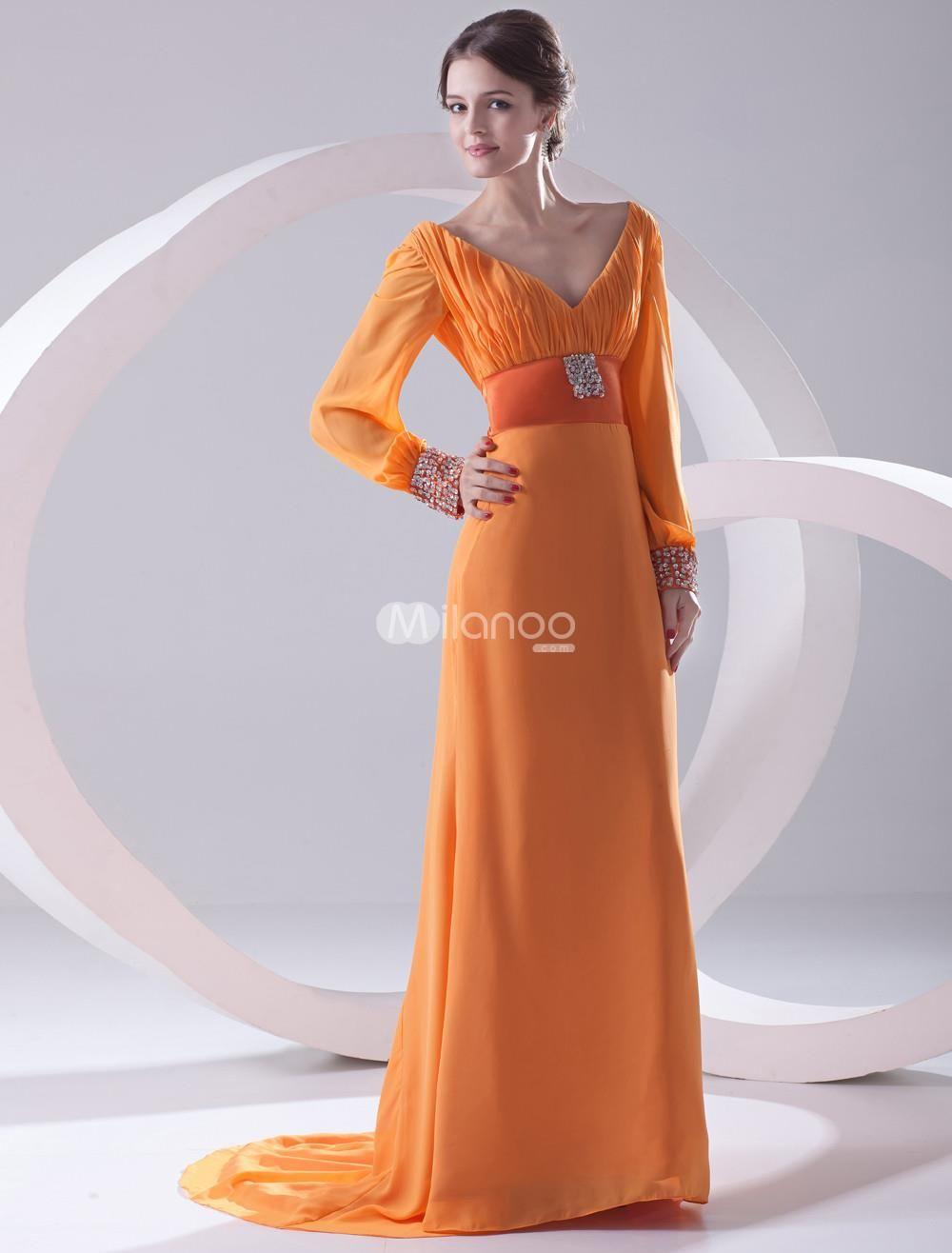Ethnic orange chiffon beading vneck sexy evening dress ethnic