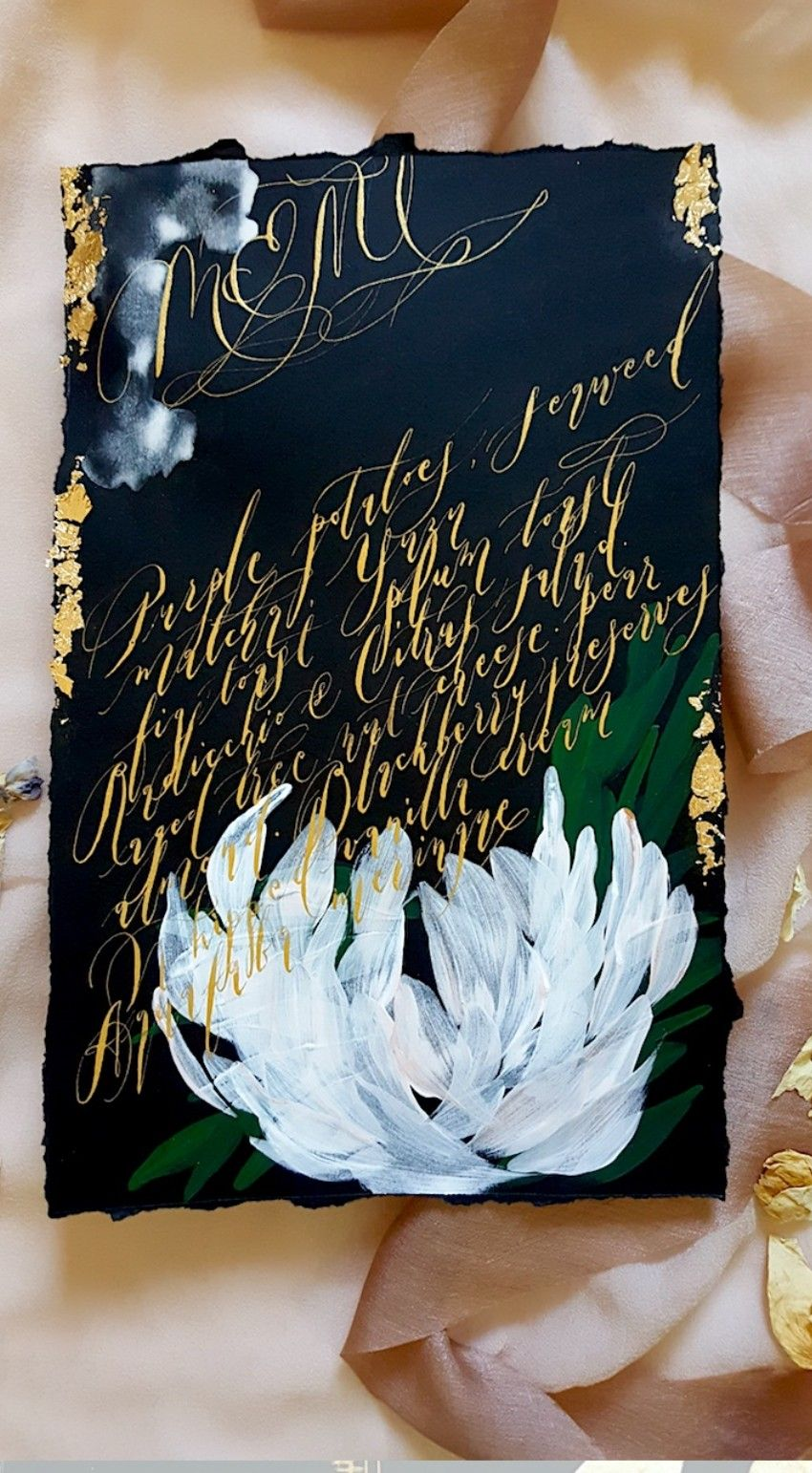 Custom Hand Painted Invitations With Strikingly Deep Hues And Gold