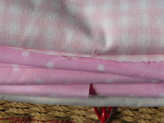 Pink Polka Dot Cotton Fabric and Grey by Vintage50sTreasures