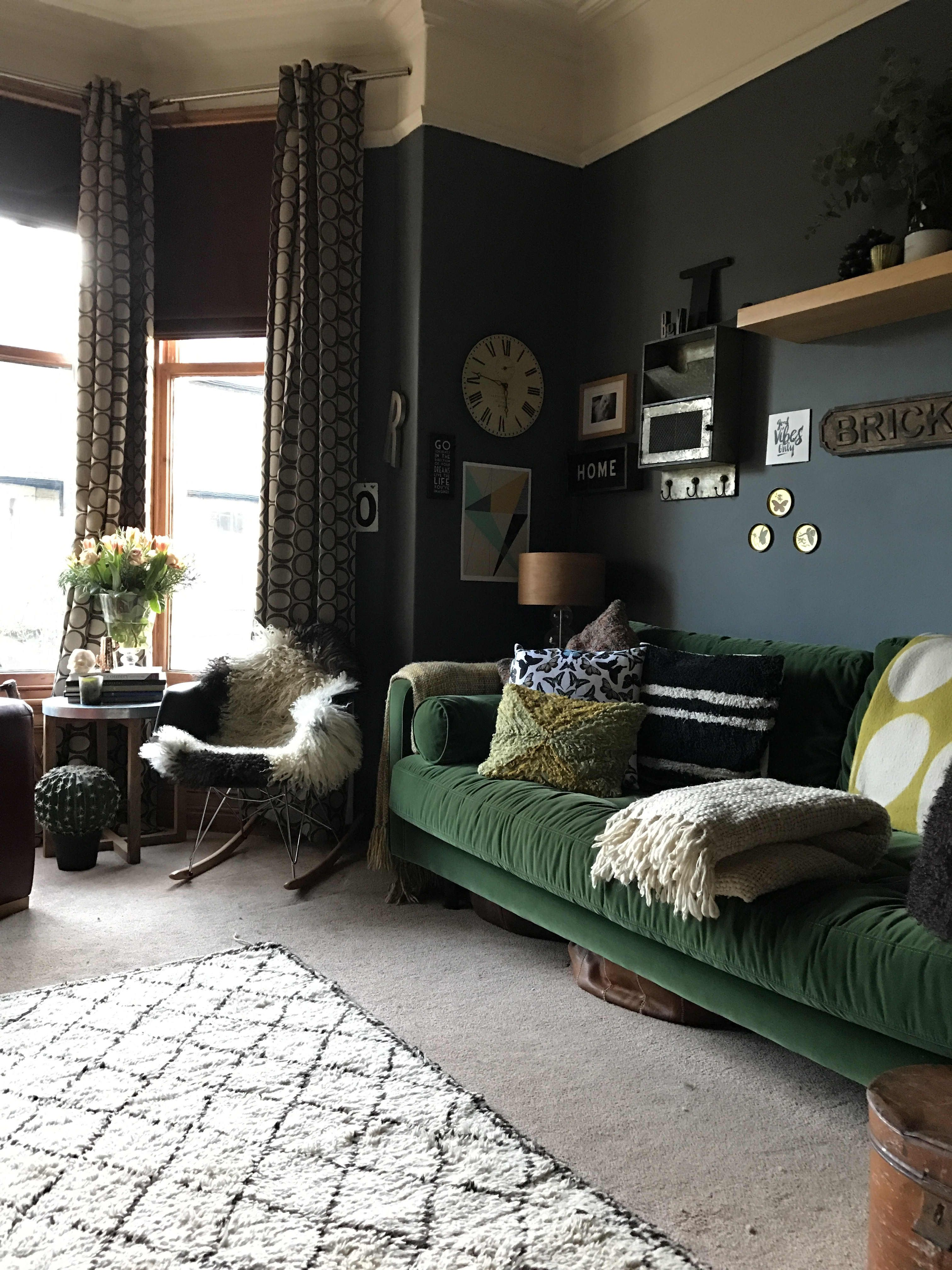 A Dark Moody Vintage Filled Victorian In The Uk Green Couch Living Room Green Sofa Living Room Dark Green Living Room
