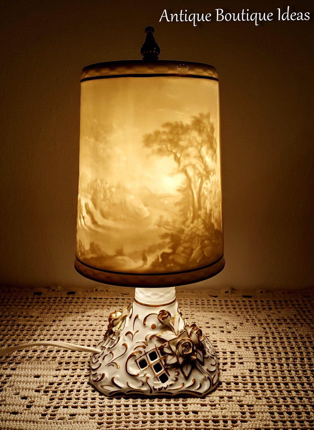 Unique Vintage Lithophane Lamp Bedside Table Lamp Vintage Plaue Lithophanie Shades German Porcelain By Antique Table Lamps Bronze Table Lamp Vintage Table Lamp