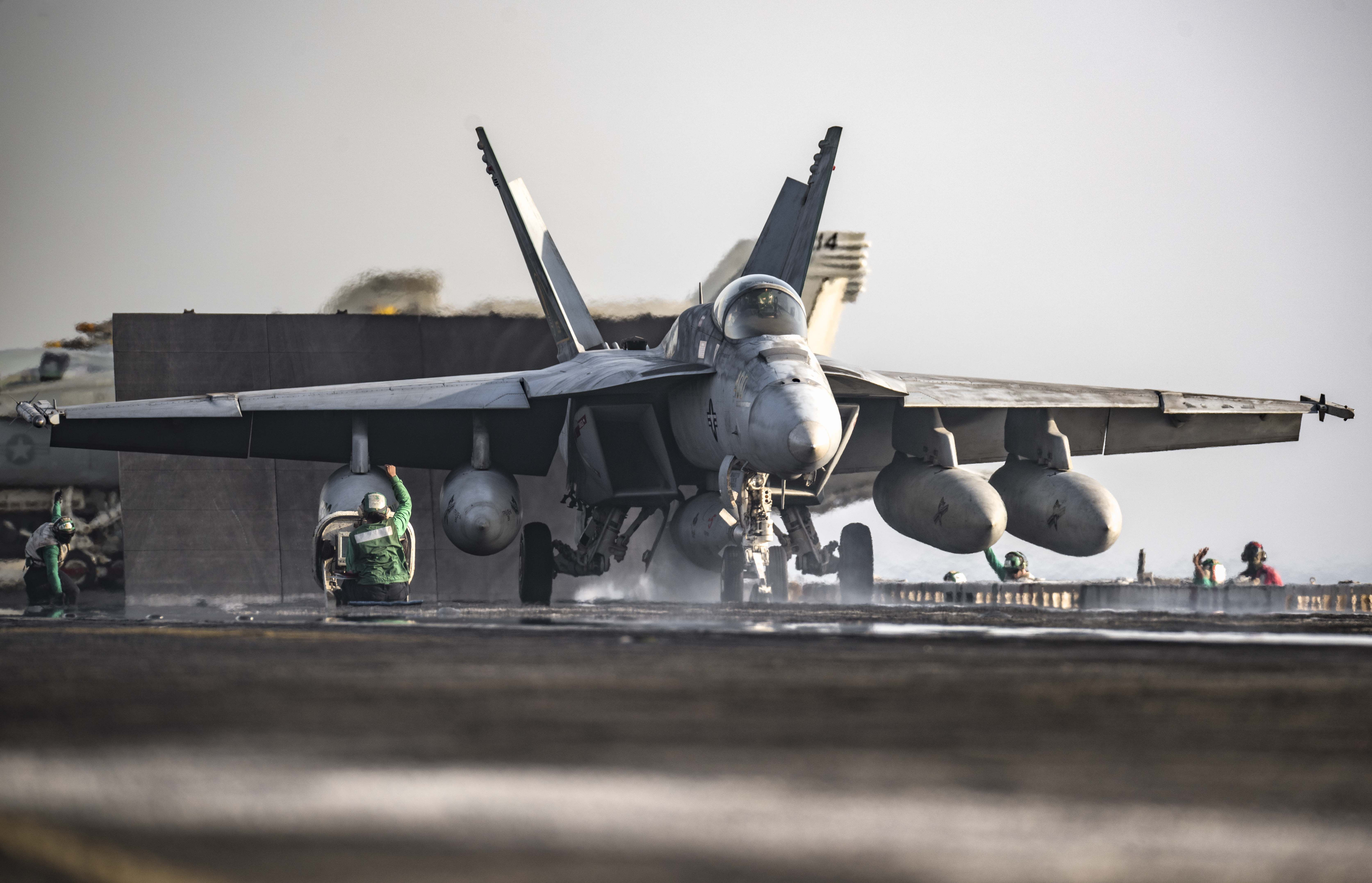 ARABIAN GULF (Aug. 8, 2016) An F/A-18E Super Hornet assigned to the Gunslingers of Strike Fighter Squadron (VFA) 105 launches from the flight deck of the aircraft carrier USS Dwight D. Eisenhower (CVN 69) (Ike). Ike and its Carrier Strike Group are deployed in support of Operation Inherent Resolve, maritime security operations and theater security cooperation efforts in the U.S. 5th Fleet area of operations. (U.S. Navy photo by Mass Communication Specialist 3rd Class J. Alexander Delgado)