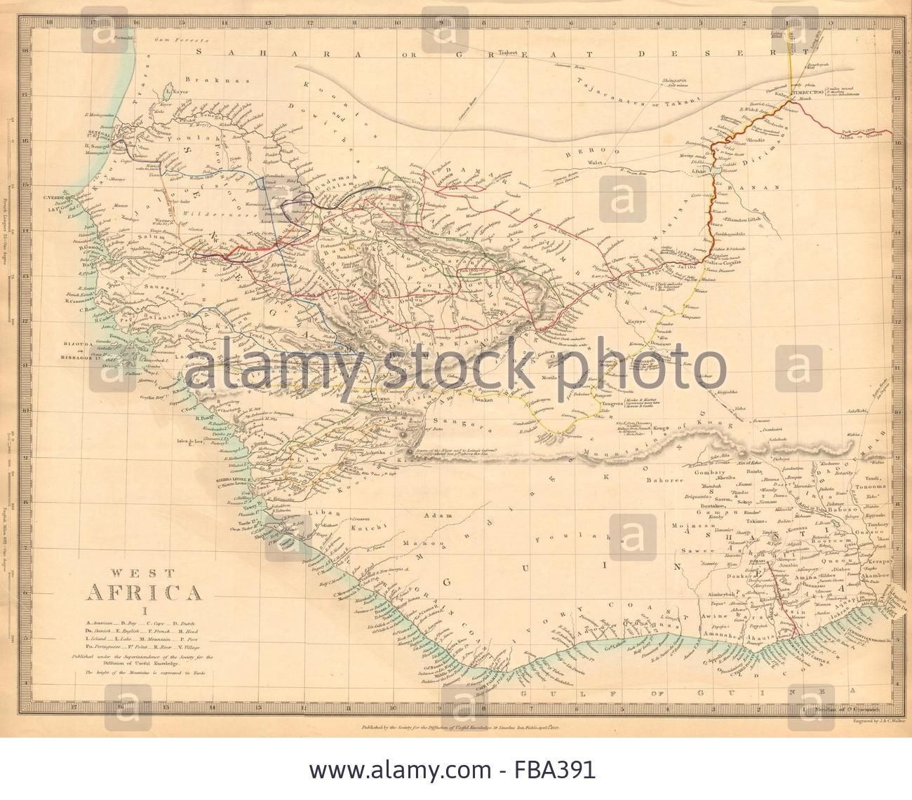 WEST AFRICA showing early explorers routes & Mountains of Kong