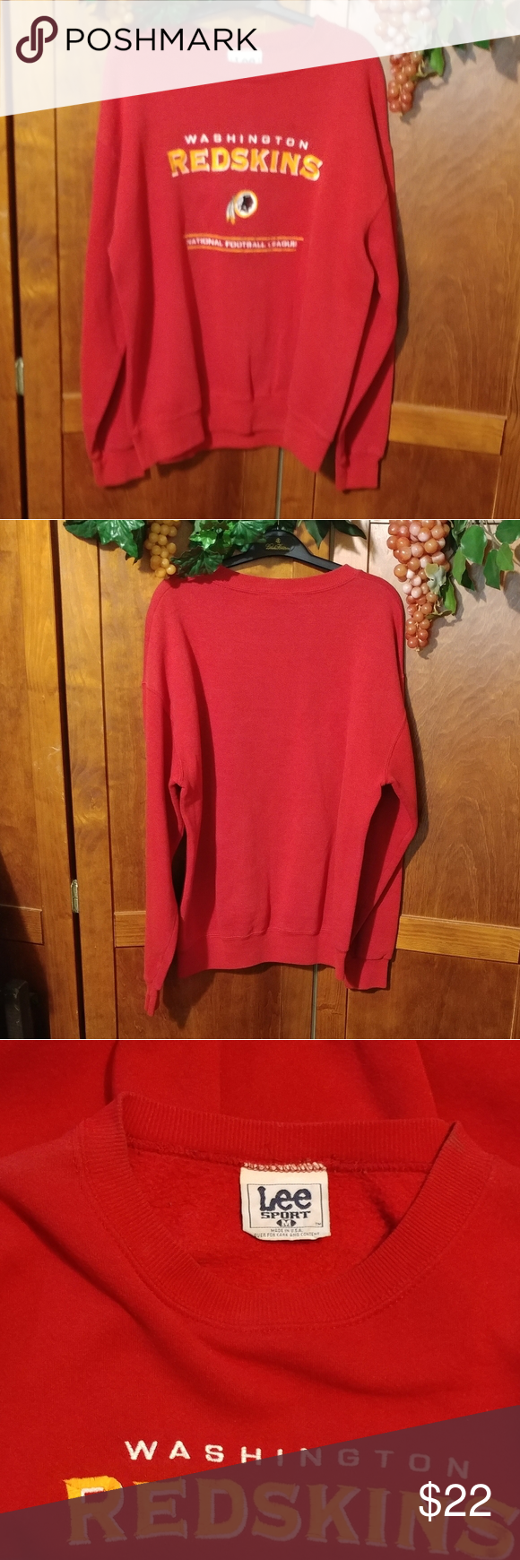 Vintage Redskins Sweatshirt Size M In 2020 Sweatshirts Lee Shirt