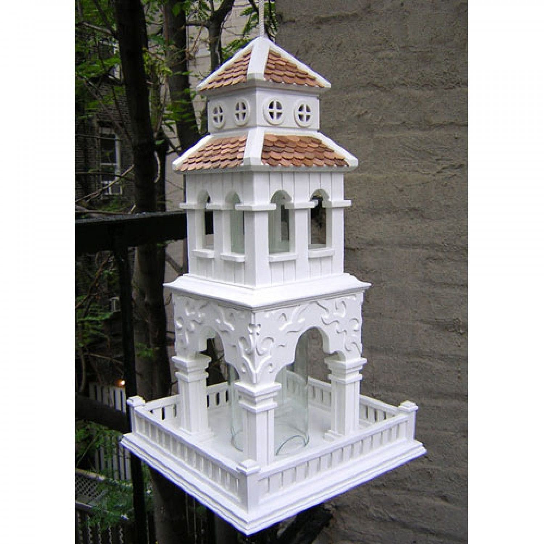 Best Pagoda Tower Hanging Bird Feeder White With Red Cedar 640 x 480