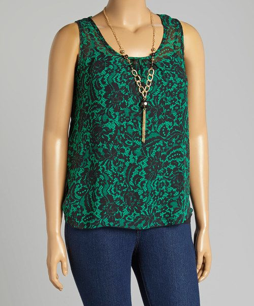 Look at this Black & Green Sheer Lace Print Sleeveless Top & Necklace - Plus on #zulily today!