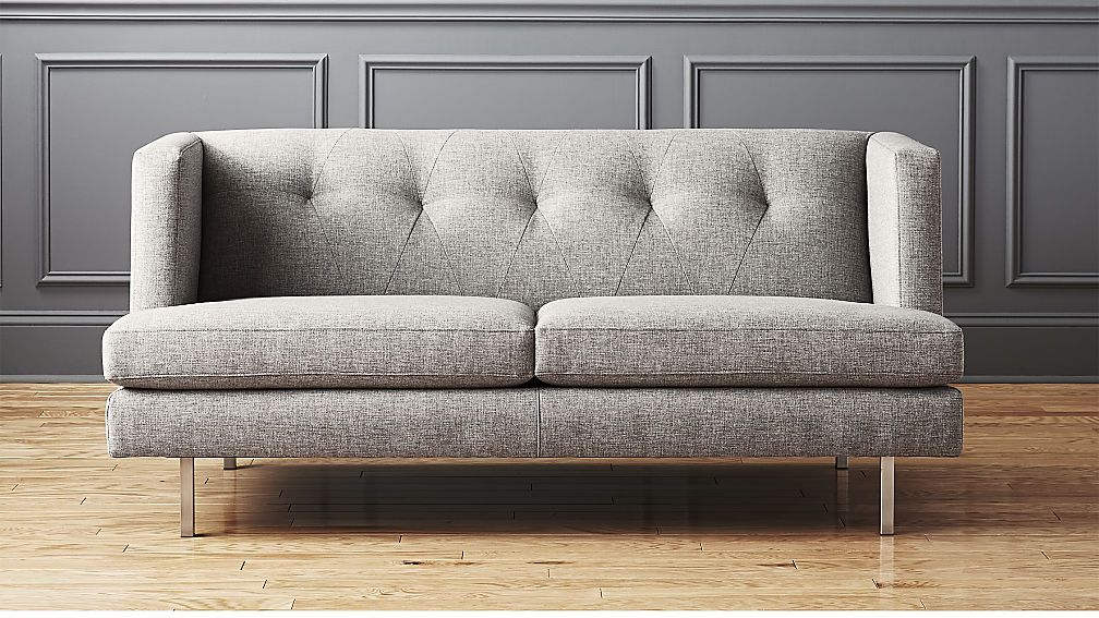 Avec Grey Apartment Sofa With Brushed Stainless Steel Legs Sofas