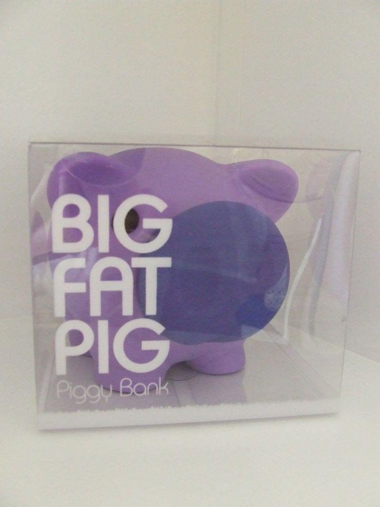 Kids Piggy Bank / Money Box - 'Big Fat Pig' - Purple - Great gift idea!