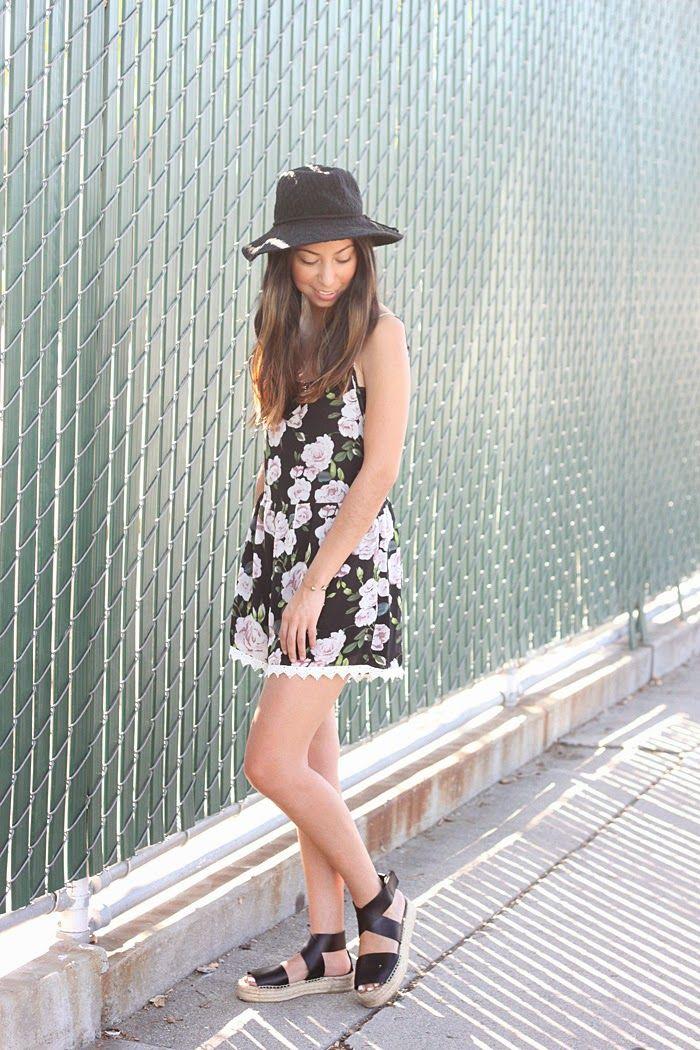 floral romper, black hat, vince espadrilles