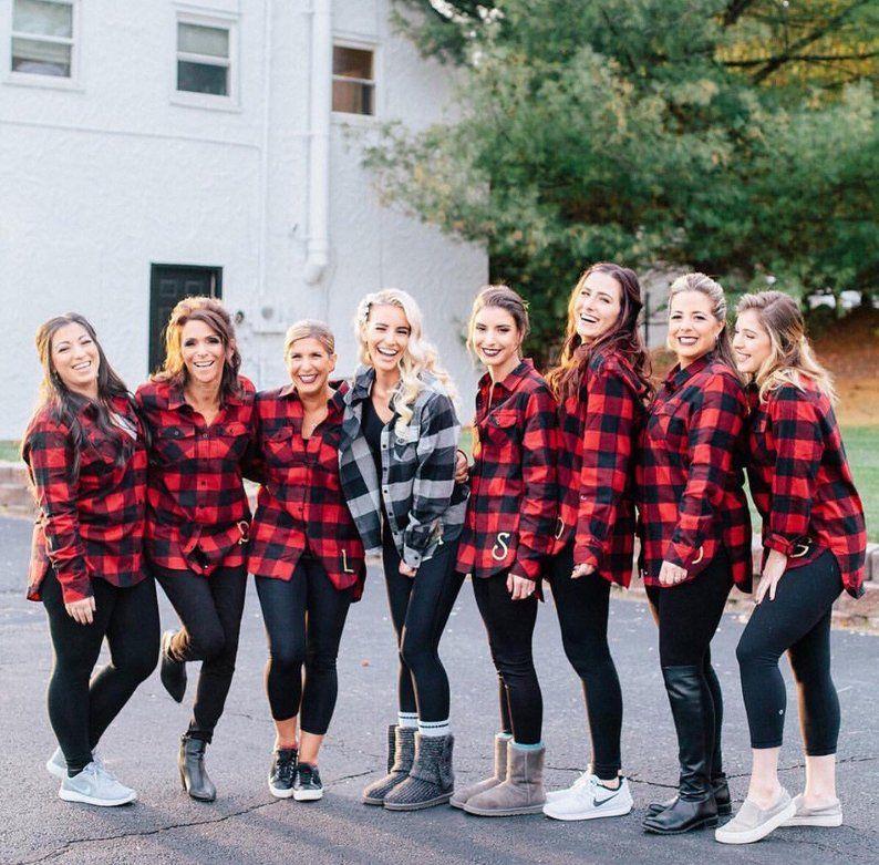 Bridal Party Buffalo Plaid Flannel Shirts – Monogrammed Flannel Shirts – Flannel Button Down – Bachelorette Party – Bridesmaid Gift