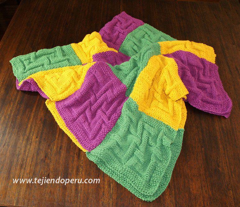 Paso a paso cubrecama hecho con cuadrados tejidos en dos - Tejidos en dos agujas paso a paso ...
