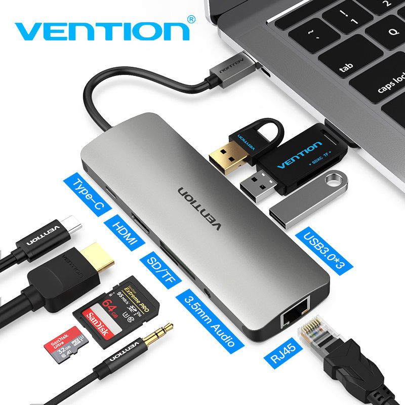 USB-C Type to USB 3.0 HUB HDMI Adapter PD Charging for Apple MacBook Pro Air HP