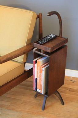 Vintage Mid Century Wood Magazine Rack Telephone Stand